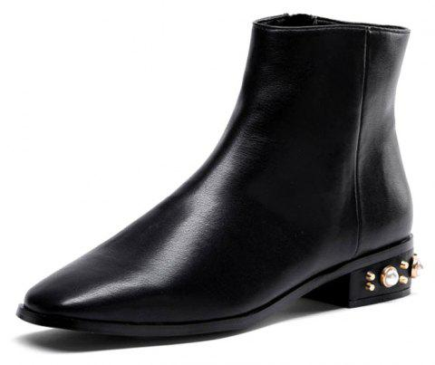 Faux Pearl Low Heeled Pu Boots - BLACK 38