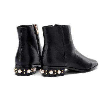 Faux Pearl Low Heeled Pu Boots - BLACK 40