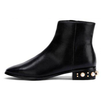 Faux Pearl Low Heeled Pu Boots - BLACK 37