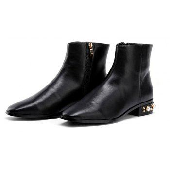 Faux Pearl Low Heeled Pu Boots - BLACK 41