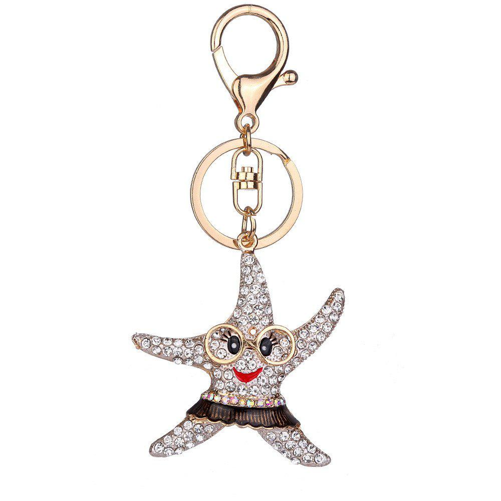 Diamond Starfish Keychain Pendant - WHITE