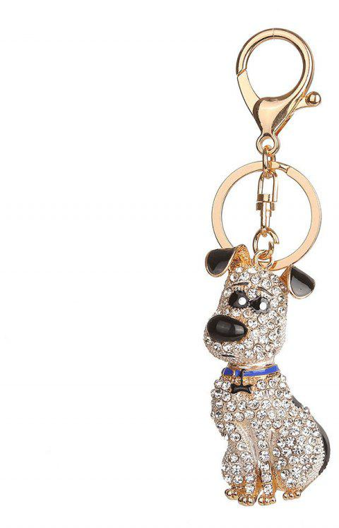 Alloy Diamond Rich Puppy Keychain - BLACK