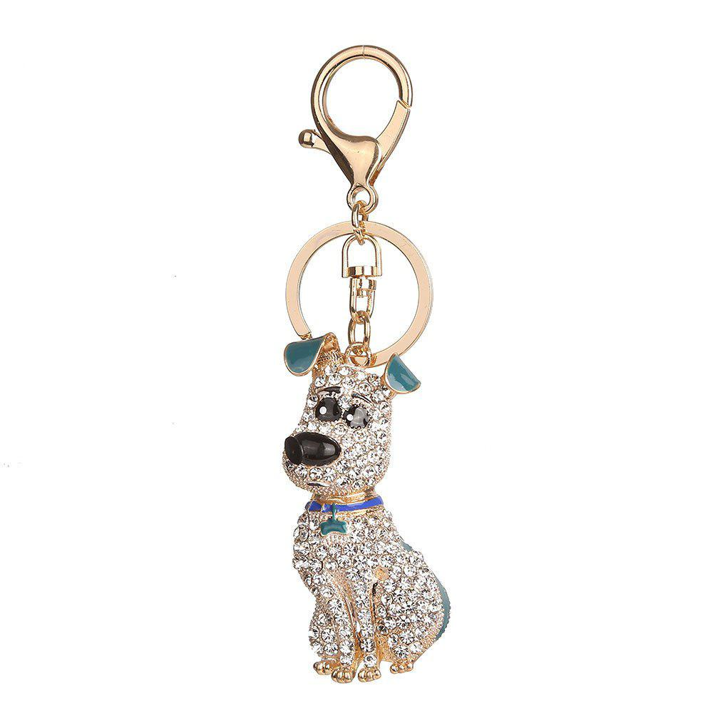 Alloy Diamond Rich Puppy Keychain - GREEN