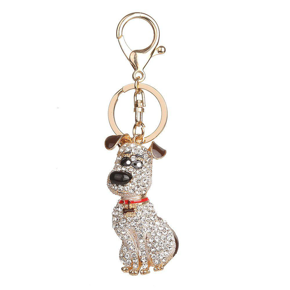 Alloy Diamond Rich Puppy Keychain - BROWN