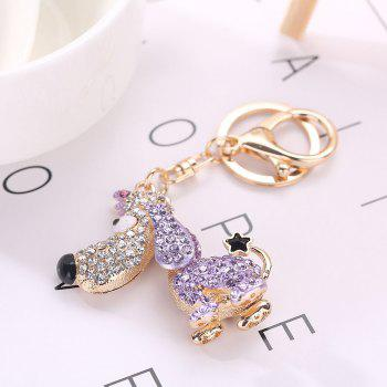 Alloy Diamond Cute Dog Keychain - MAUVE