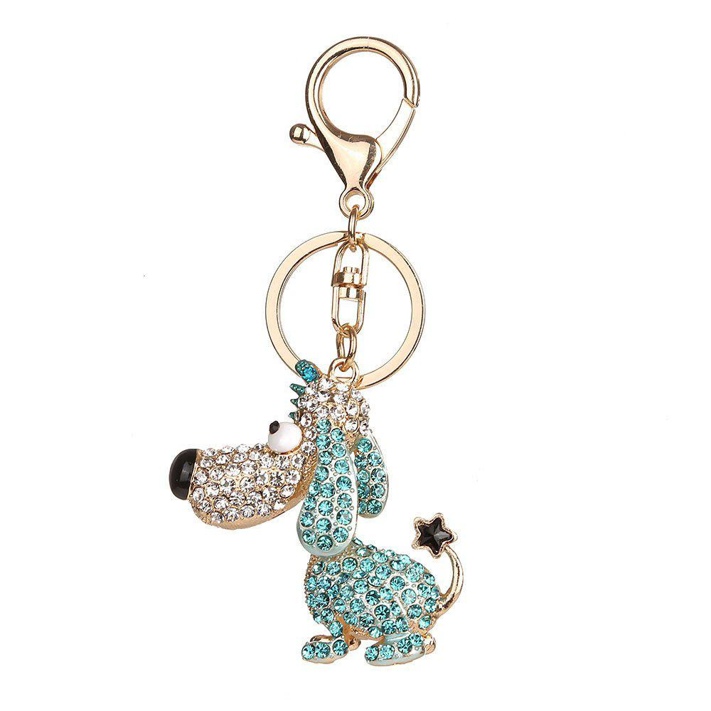 Alloy Diamond Cute Dog Keychain - GREEN