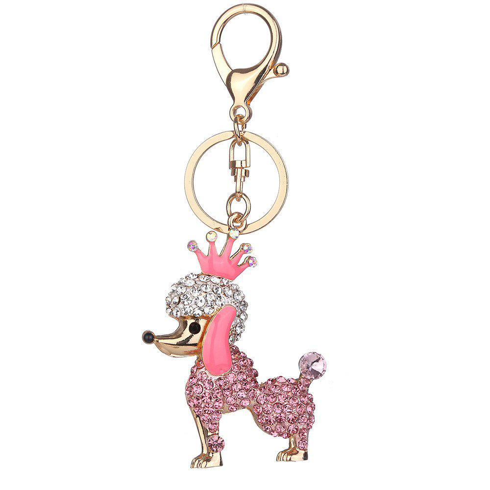 Diamond Poodle Key Chain Pendant - PINK