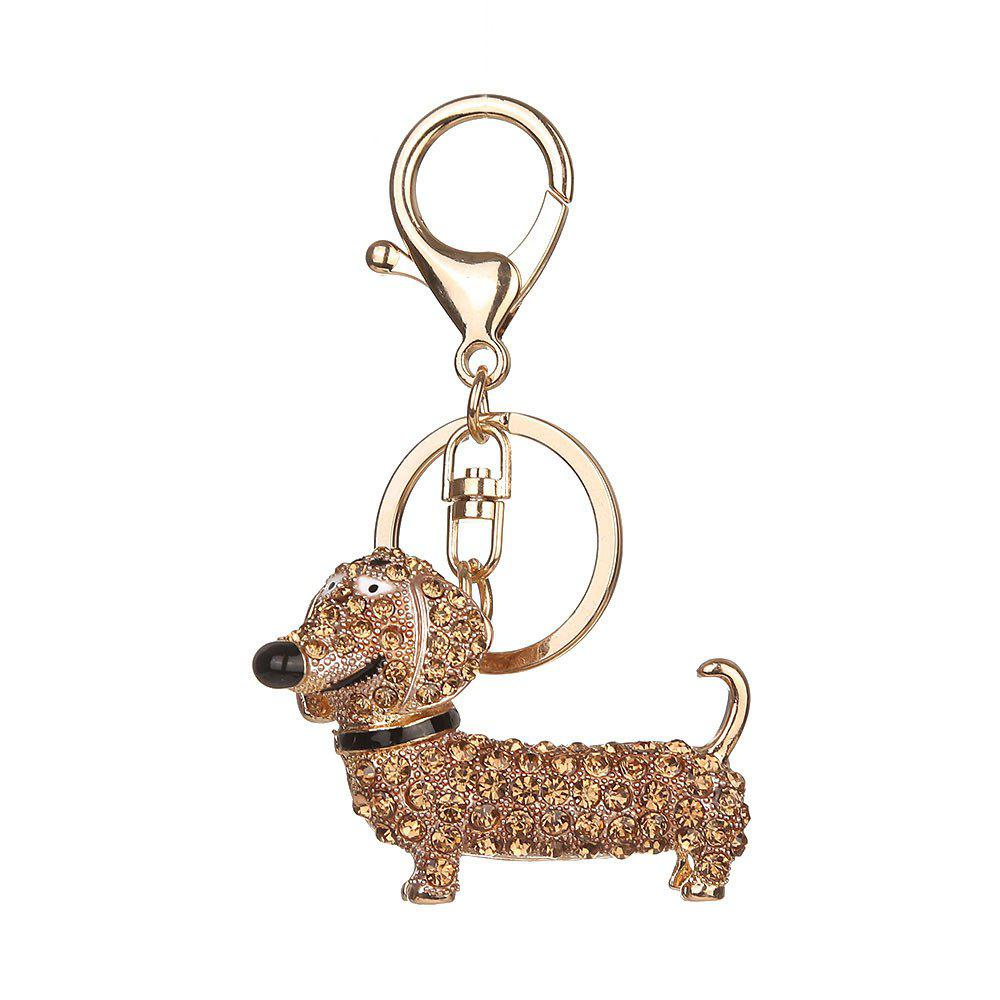 Diamond Cute Dachshund Puppy Keychain - GOLD
