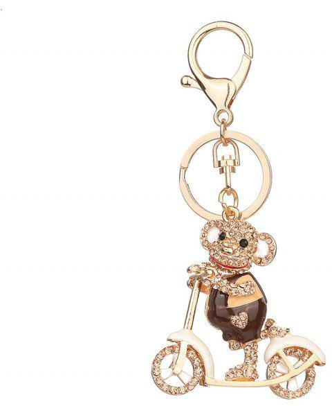 Diamond Alloy Monkey Keychain - BROWN