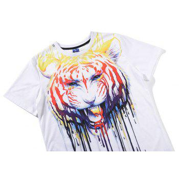 Graffiti Tiger 3D Print T-shirt - WHITE 3XL