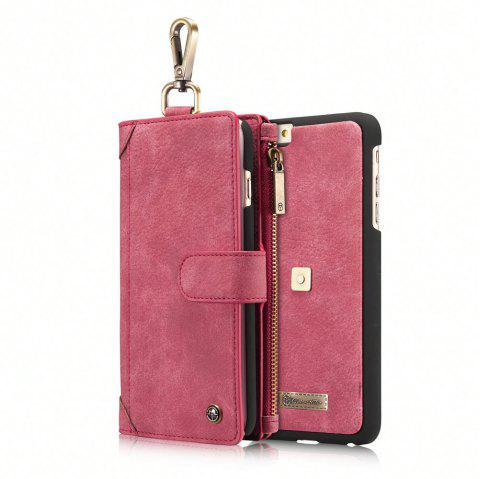 CaseMe 009 for iPhone 6 Plus/ 6S Plus Multi Function Leather Wallet Case with Waist Hanging Hook and Credit Card Slot - SCARLET