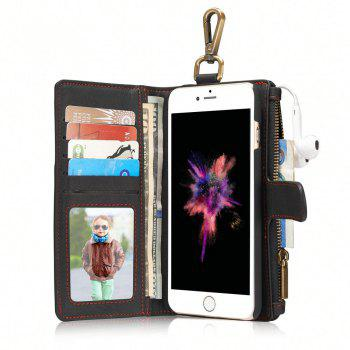 CaseMe 009 for iPhone 6/ 6S Hanging Waist Magnet Wallet Leather Case with Zipper Money Compartment and Card Slots - BLACK