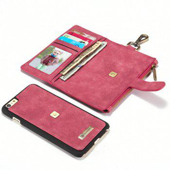 CaseMe 009 for iPhone 6/ 6S Hanging Waist Magnet Wallet Leather Case with Zipper Money Compartment and Card Slots - RED