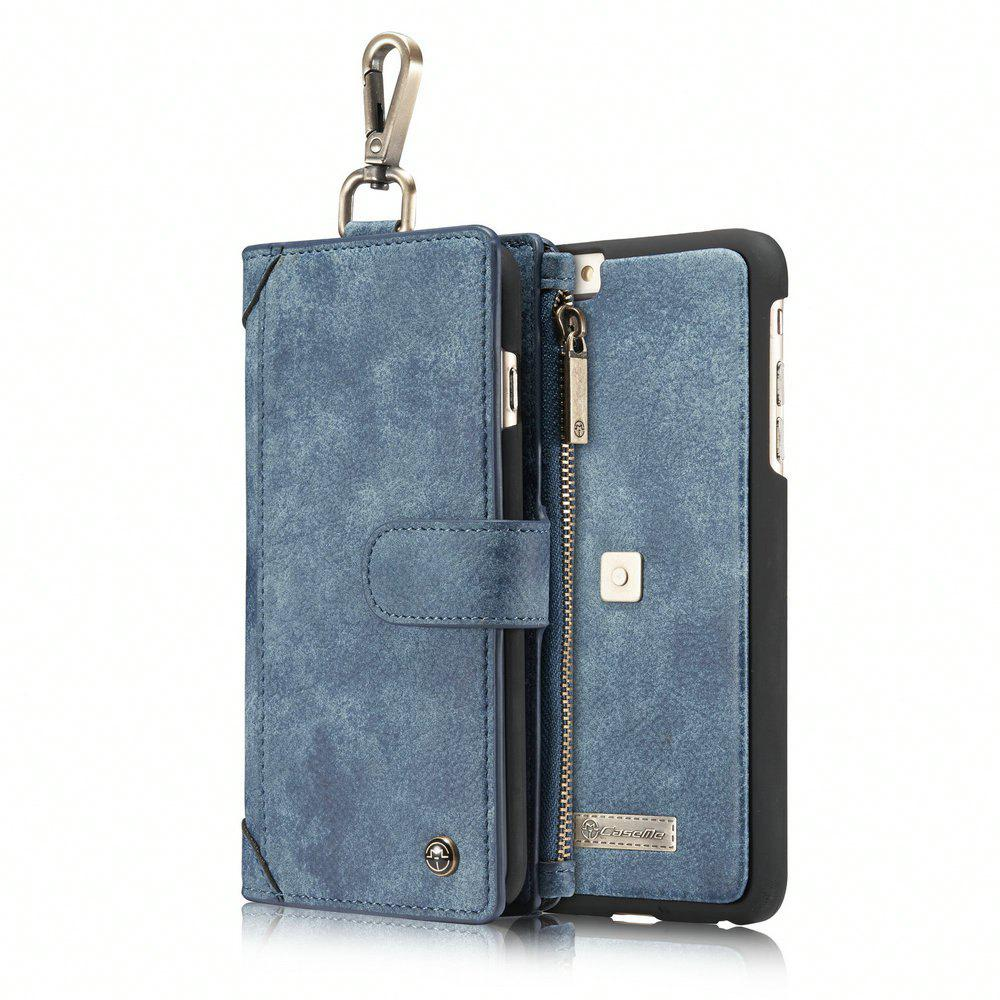 CaseMe 009 for iPhone 6/ 6S Hanging Waist Magnet Wallet Leather Case with Zipper Money Compartment and Card Slots - BLUE