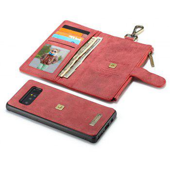 CaseMe 009 for Samsung Galaxy Note 8 Leather Flip Case with Credit Card Holder Slot and Zipper Wallet - RED
