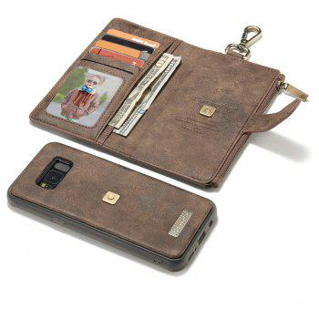 CaseMe 009 for Samsung Galaxy S8 Plus Leather Flip Wallet Case with Metal Hook Zipper Cash Card Slot - BROWN