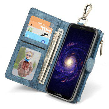 CaseMe 009 for Samsung Galaxy S8 Magnet Closure Flip Leather Wallet Case with Safety Cash Zipper Slot - BLUE