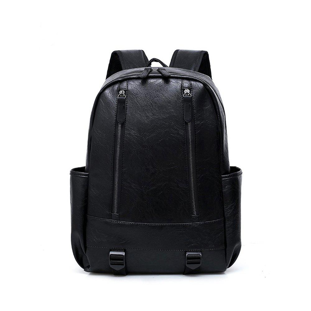 Preppy Style Leather School Backpack Bag For College Simple Design Men Casual Daypacks Mochila Male New - BLACK