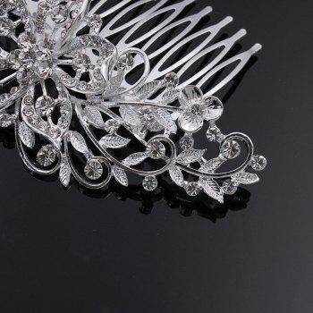Fashion Newstyle Hollowed Flowers Hair Comb - SILVER