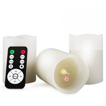 LED Colored Flameless Laser Projection Electronic Candle - WHITE