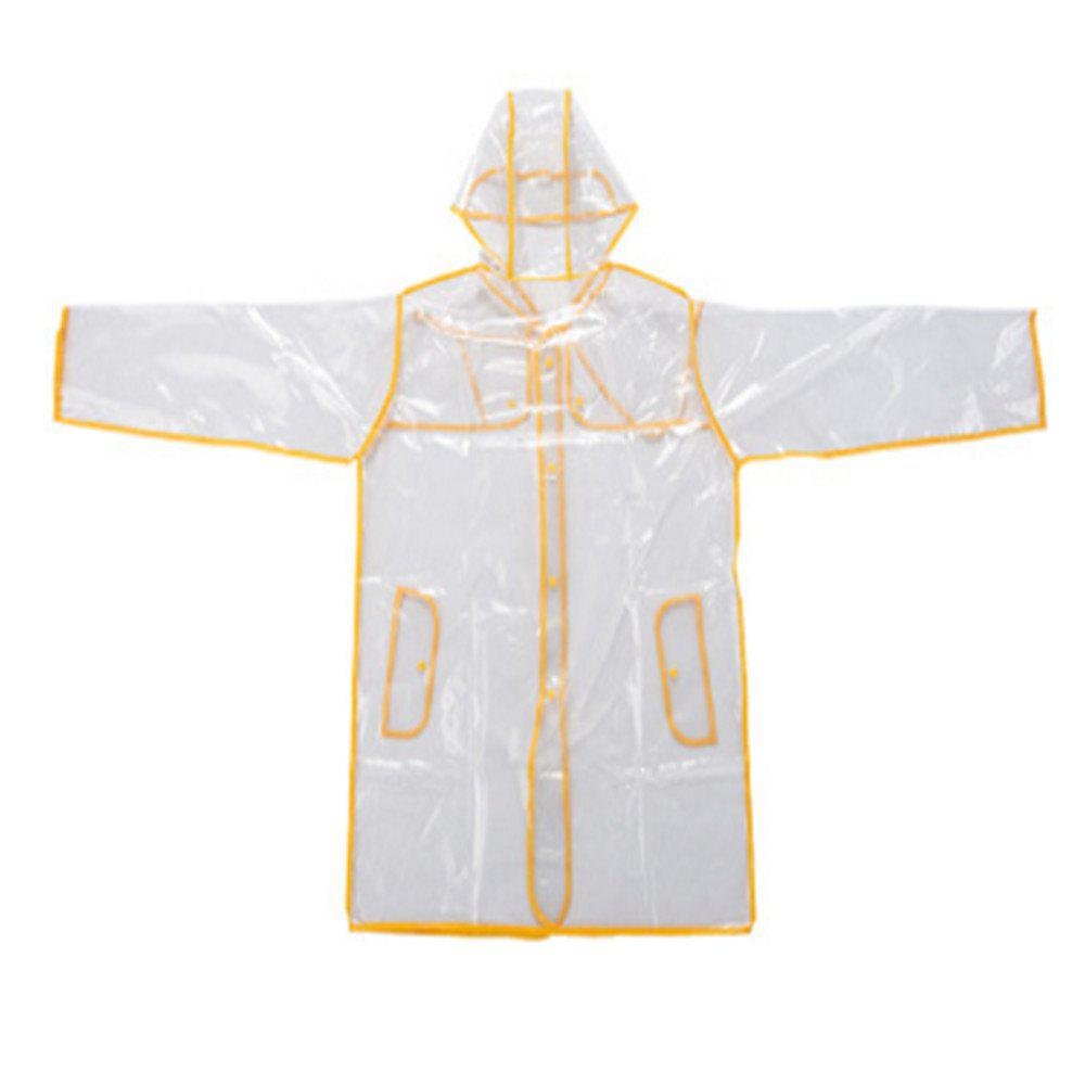 Non-disposable Couple Green Edging PVC Transparent Raincoat - SUN YELLOW