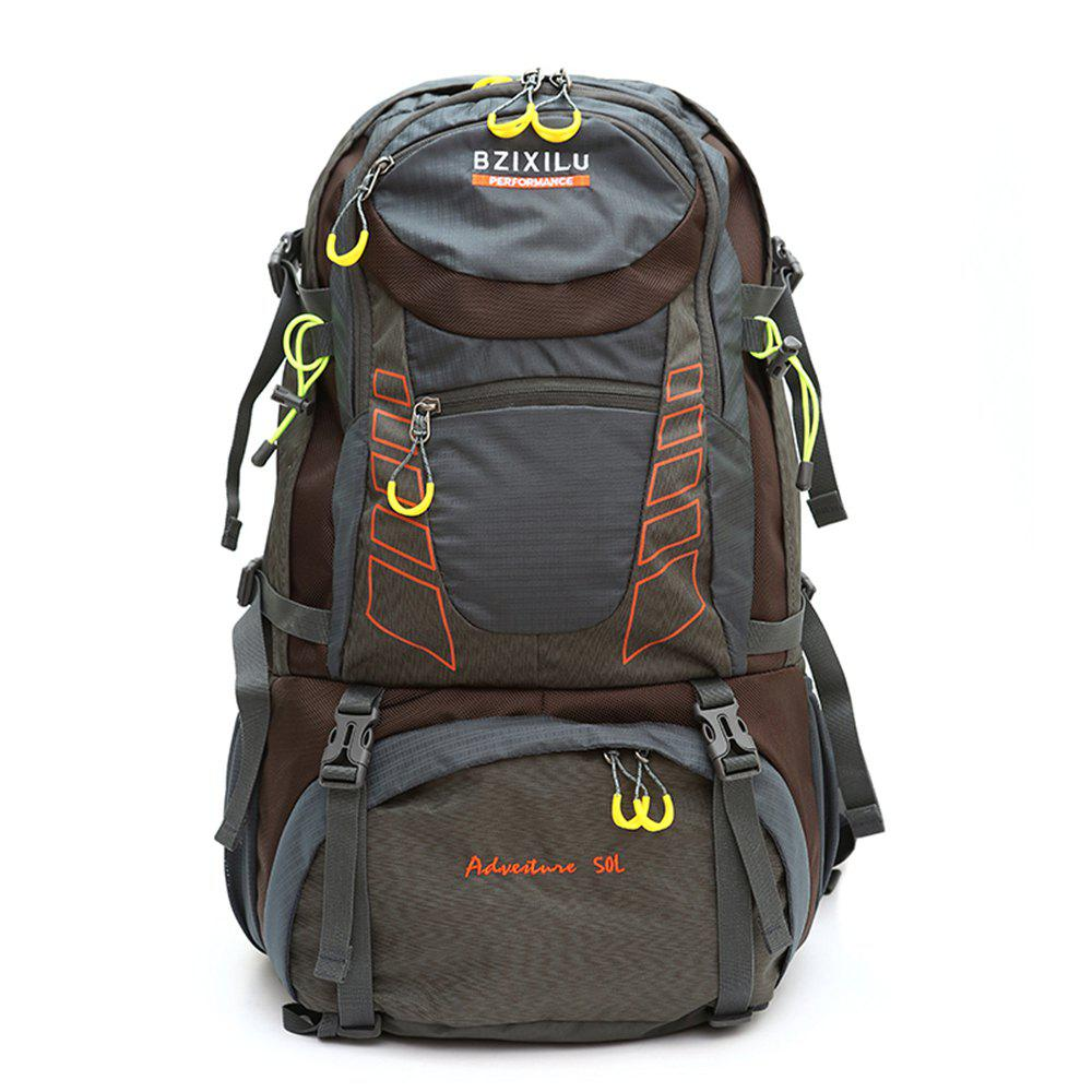 BZIXILU Outdoor Hiking Fashion 50L Waterproof and Mountaineering Bag - GRAY VERTICAL