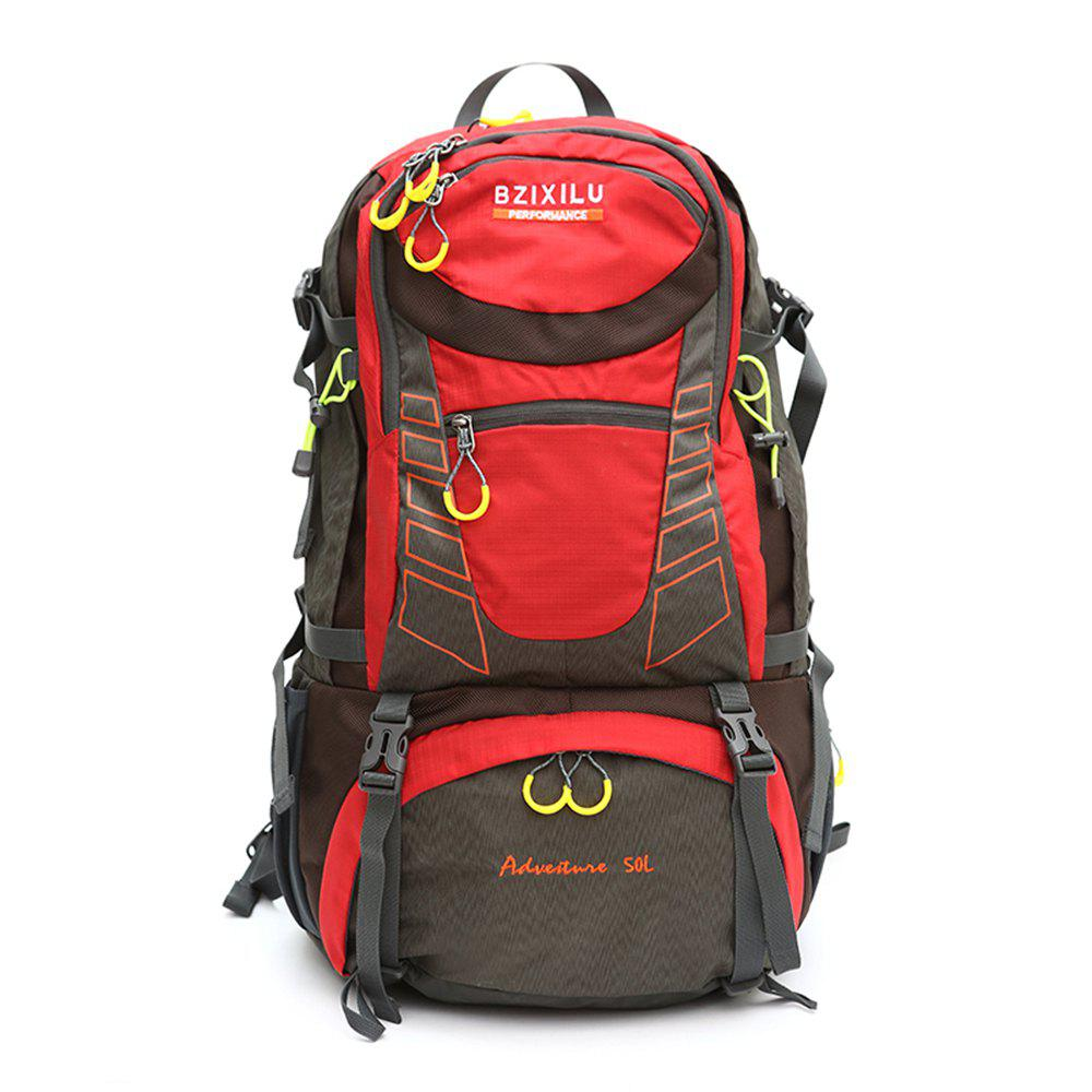 BZIXILU Outdoor Hiking Fashion 50L Waterproof and Mountaineering Bag - RED VERTICAL