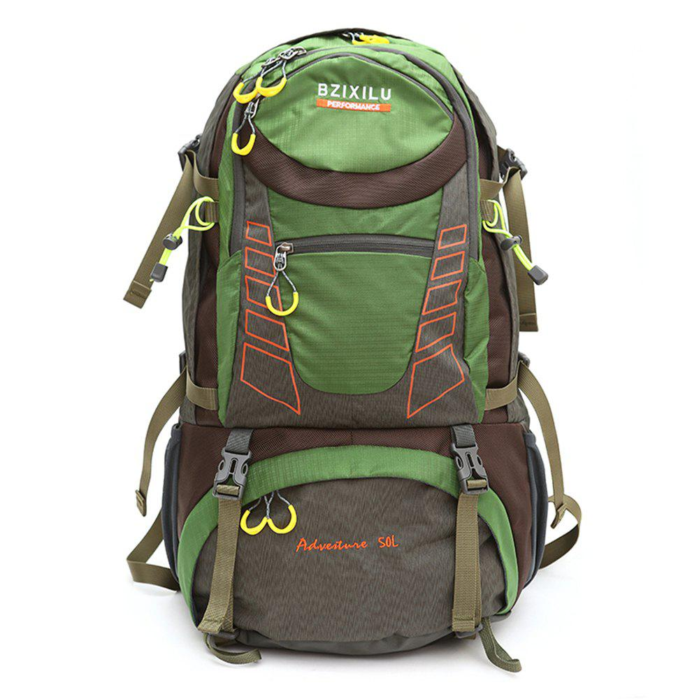BZIXILU Outdoor Hiking Fashion 50L Waterproof and Mountaineering Bag - GREEN VERTICAL