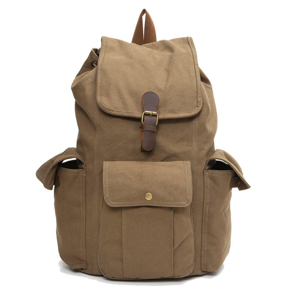 Men'S Business Casual Travel Simple Fashion Waterproof Canvas Backpack - CAMOUFLAGE GREEN VERTICAL