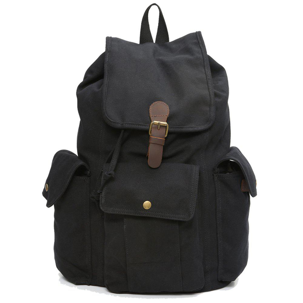Men'S Business Casual Travel Simple Fashion Waterproof Canvas Backpack - BLACK VERTICAL