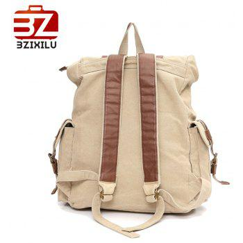 Men'S Fashion  Sports Campus Large Capacity Canvas Backpack - BEIGE VERTICAL