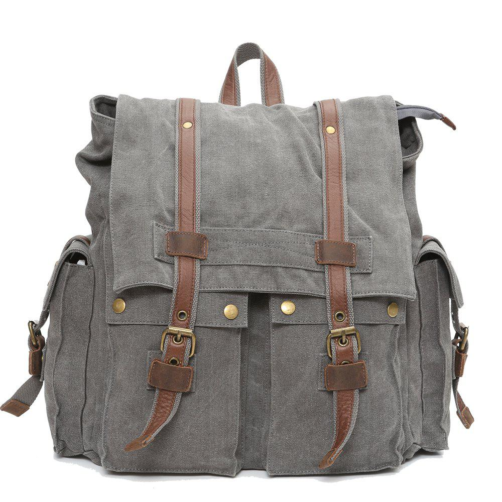Men'S Fashion  Sports Campus Large Capacity Canvas Backpack - GRAY VERTICAL