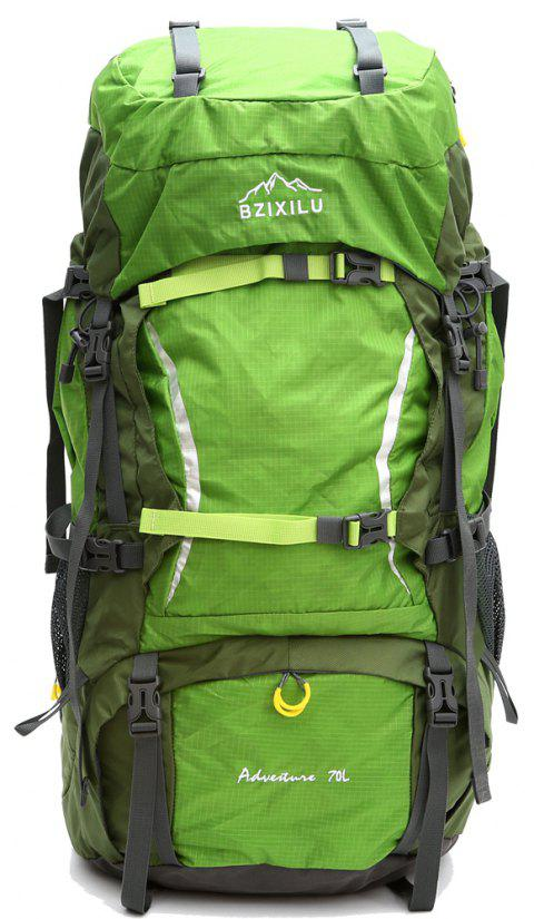 BZIXILU Outdoor Hiking 70L High-Capacity Waterproof Mountaineering Bag - GREEN VERTICAL