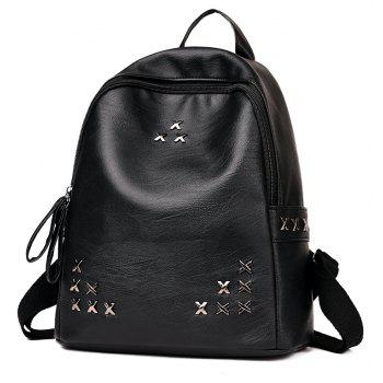 Rivet Backpack Wild Schoolbag - BLACK