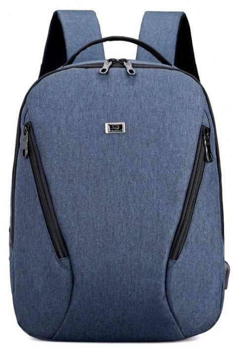 Anti Thief Backpack USB Charging Men 15 inch Laptop Bags Fashion Male Travel Backbag - BLUE JAY