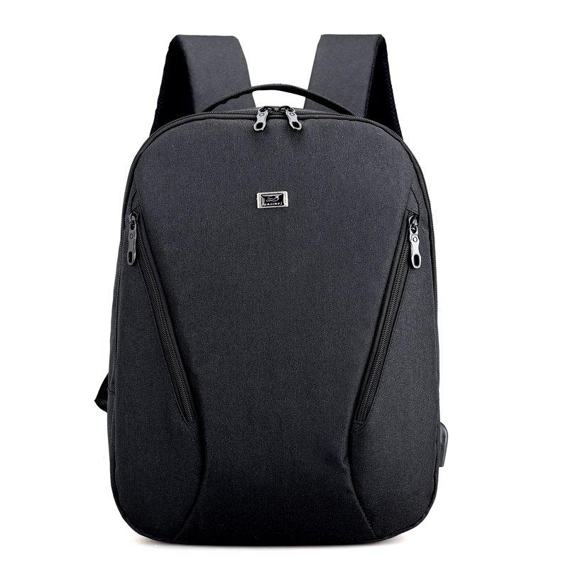 Anti Thief Backpack USB Charging Men 15 inch Laptop Bags Fashion Male Travel Backbag - BLACK