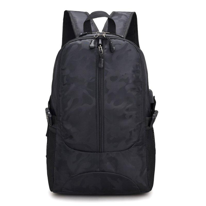 Backpack USB Charging Men Laptop Teenager Backbag Fashion Male Travel Bag Anti Thief Package - BLACK
