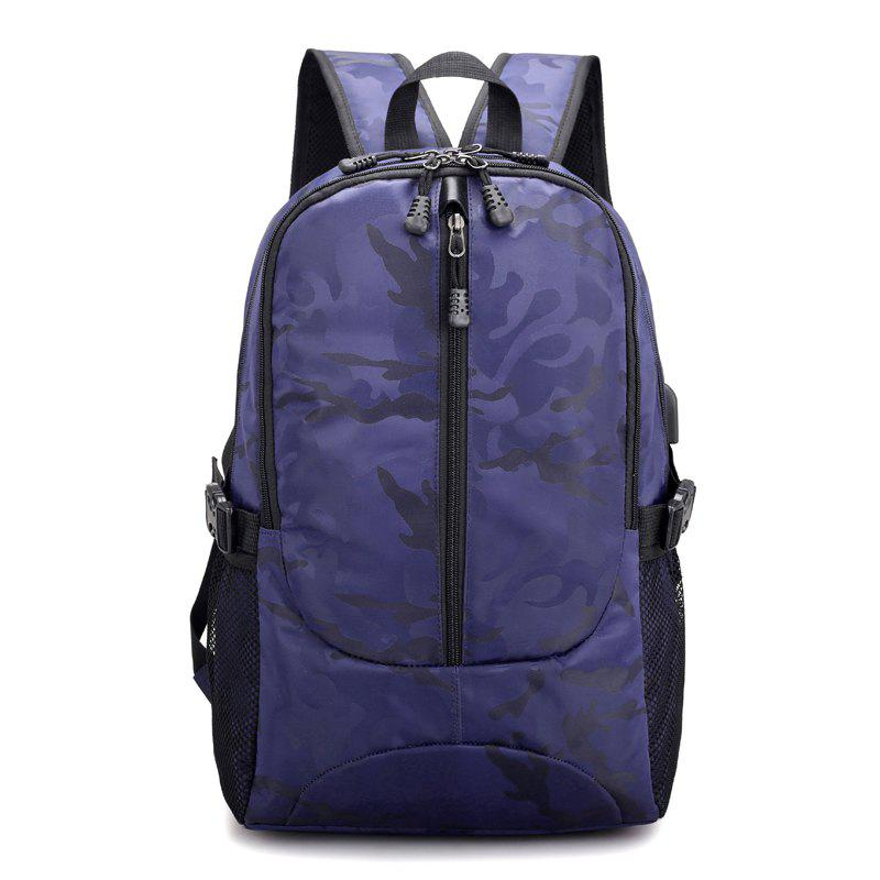 Backpack USB Charging Men Laptop Teenager Backbag Fashion Male Travel Bag Anti Thief Package - DENIM DARK BLUE