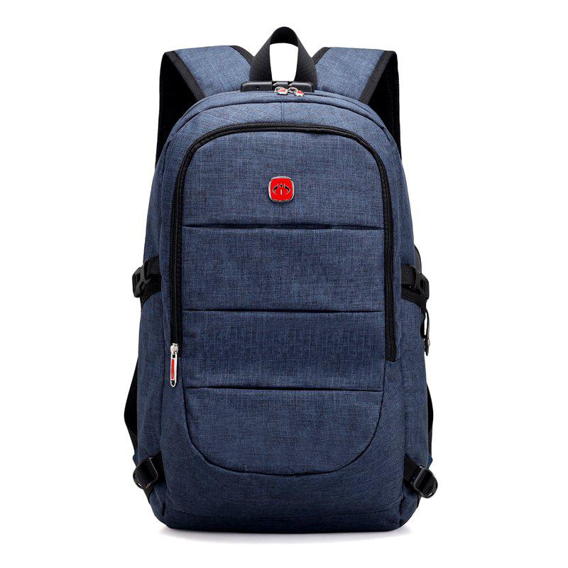 Password Backpack USB Charging Men 15 inch Laptop Bag Fashion Male Travel Backbag Anti Thief - BLUE EYES