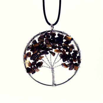 Natural Stone Necklace Tiger's Eye Energy Stone - BROWN