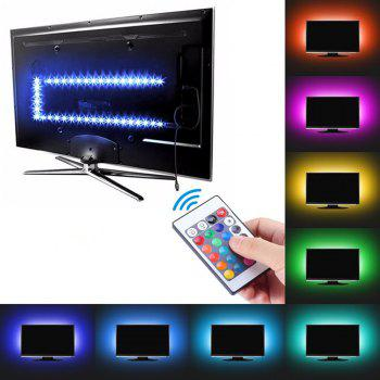 KWB 5V LED Strip Light 5050 RGB Waterproof with 24 Keyboard Remote Control - BLACK 1M (39.37INCH)