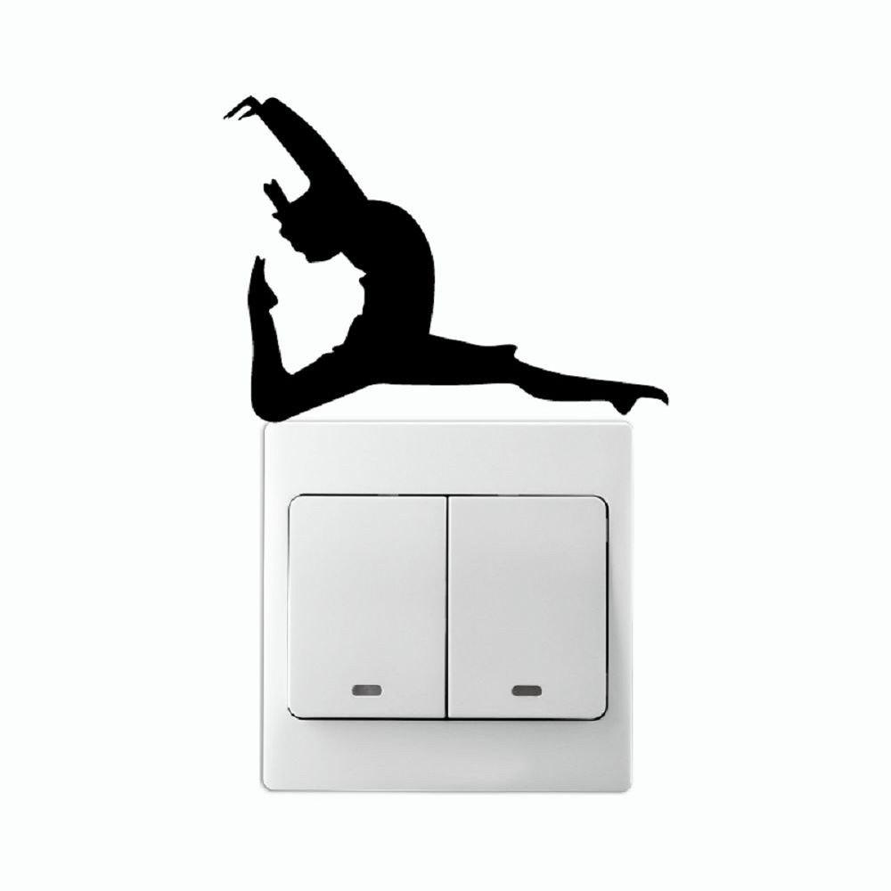 DSU Fitness Dancer With One Leg Pointed On Light Switch Stickcer Wall Decal ad060 benao free shipping blower sky dancer inflatable air man dancer with arrow for direction road for advertising