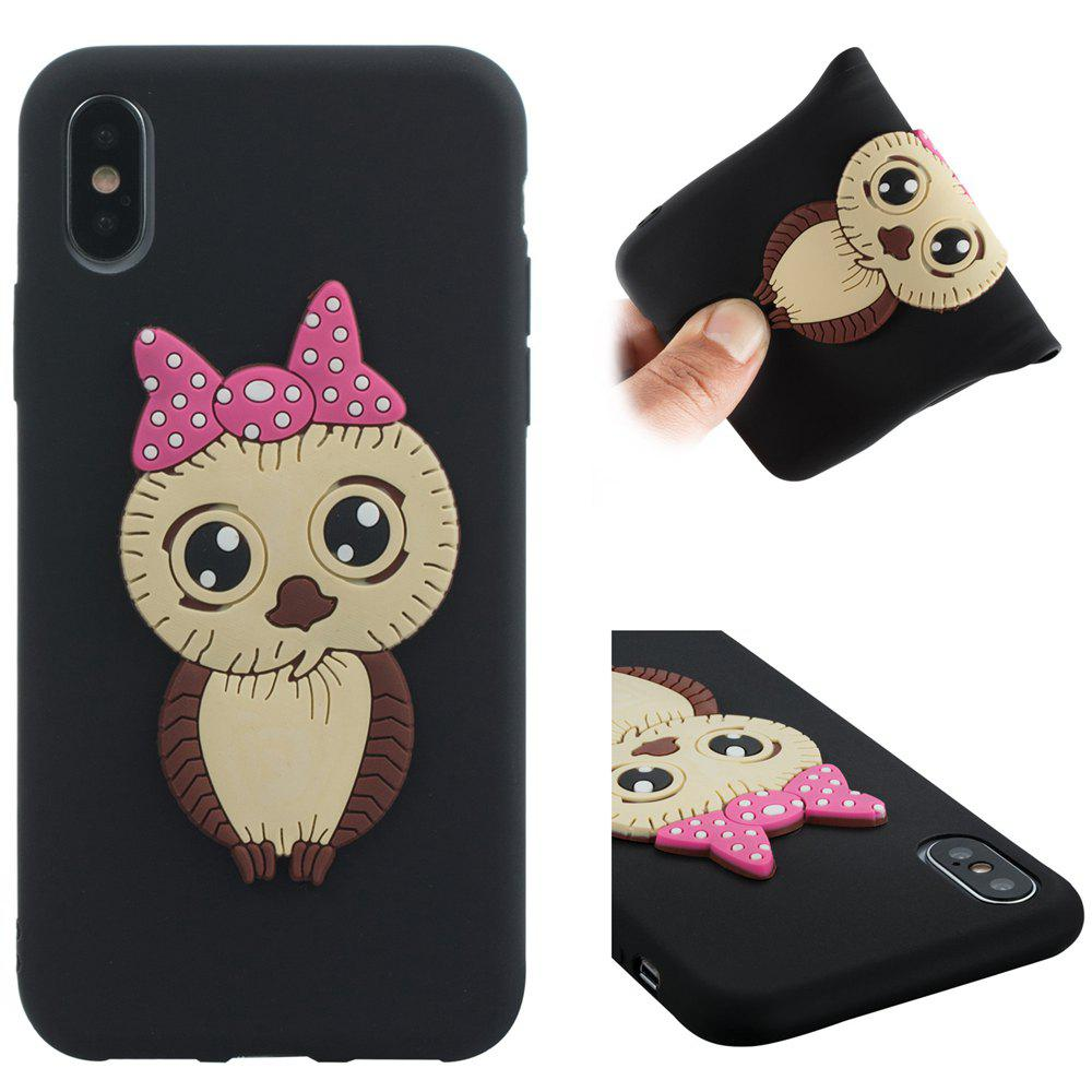 Case for iPhone X Owl Soft Shell - BLACK