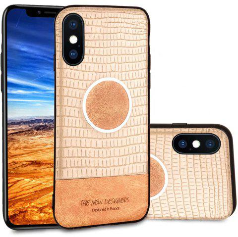 For iPhone X  Case Magnetic Function Special Texture Soft Back Cover - GOLDEN BROWN