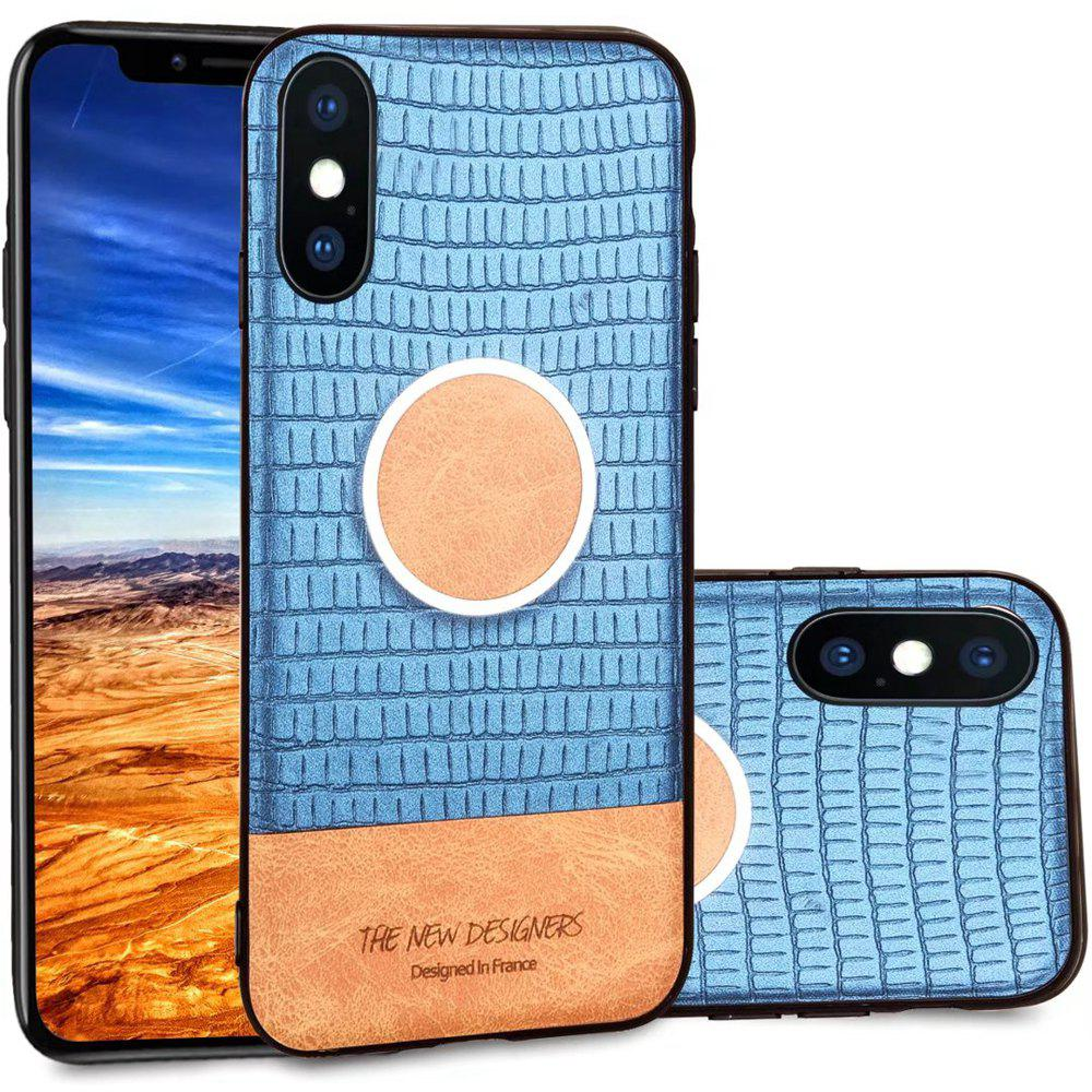 For iPhone X  Case Magnetic Function Special Texture Soft Back Cover - BLUE