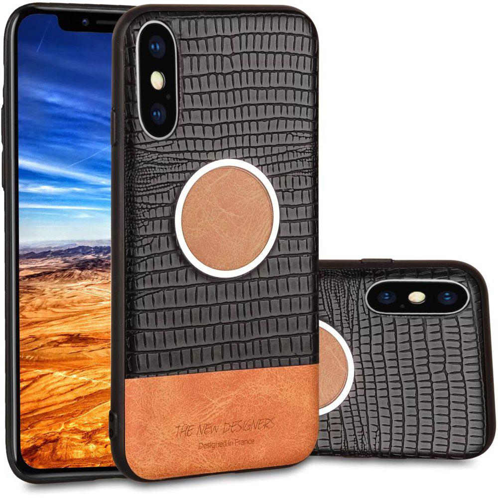 For iPhone X  Case Magnetic Function Special Texture Soft Back Cover - BLACK
