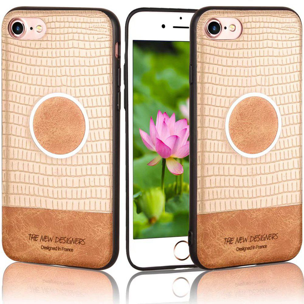 For iPhone 6 / 6S Case Magnetic Function Special Texture Soft Back Cover - GOLDEN BROWN