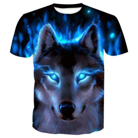 Men's Casual 3D Print Wolf Round Neck Short Sleeves T-shirt - BLUE M