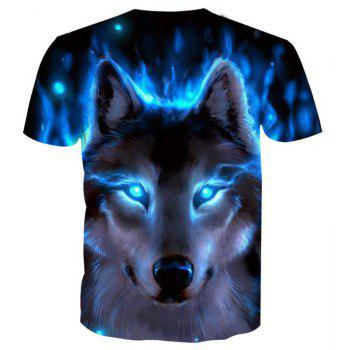 Men's Casual 3D Print Wolf Round Neck Short Sleeves T-shirt - BLUE 3X