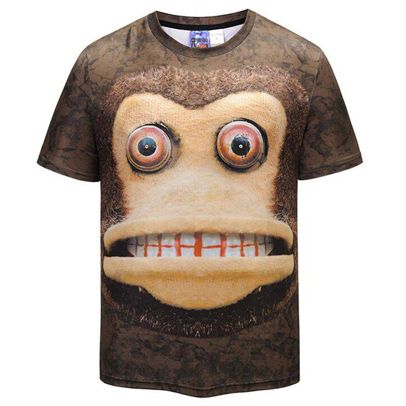Men's Casual 3D Print Monkey Round Neck Short Sleeves T-shirt - BROWN 2XL